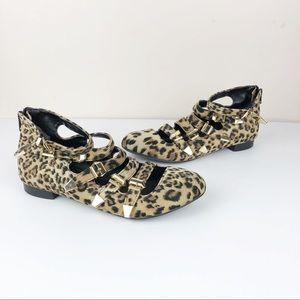 Penny Sue Leopard Flats Gold Buckles Mary Janes